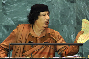 African Union chairman and Libyan leader, Muammar Gaddafi, spoke before the United Nations on its undemocratic character. by Pan-African News Wire File Photos