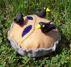 Pie Felt Pincushion with Three Decorative Black Bird Pins (Jennie Ivins) Tags: food birds pie handmade felt pincushion etsy blackbirds nurseryrhyme