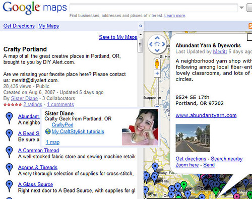Crafty Portland - Custom Map in Google