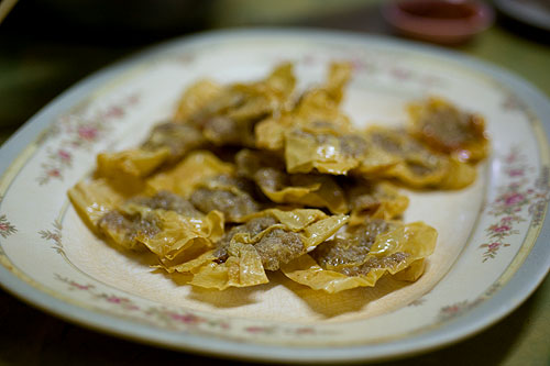 Pork-stuffed tofu skins at Piang Kee, a Hakka restaurant in Bangkok's Chinatown