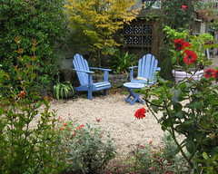 Blue chairs in the Gravel garden.