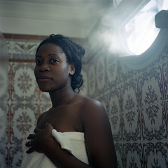 the wife: first official photograph (theGentleman) Tags: light 120 6x6 film smile bathroom shower spain honeymoon natural monalisa towel steam ring tiles wife shafts yashica rhoda pension marbella yashicamat portra400vc thetownhouse anadulsia mdiumformat