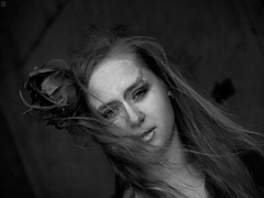Malvina (annette00) Tags: flowers bw woman wind indoors bodyart primopiano photoproject