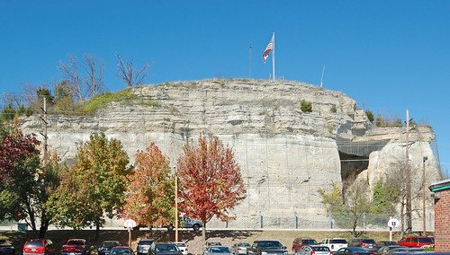 Saint Bridget of Kildare Roman Catholic Church, in Pacific, Missouri, USA - view of sandstone bluffs from parking lot