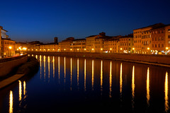 Arno after the sunset (Vincenzo Giordano) Tags: blue sunset italy orange night reflections river nikon pisa tuscany arno toscana d40 objectiveart