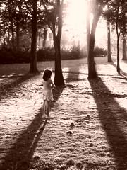 Esperando (Mr. Carmine) Tags: trees light portrait sun sol ecology girl grass sepia contrast happy sadness waiting ray arboles shine child little retrato nia pasto contraste rayo ecologa pequea brillo rayos contrastes universum resplandor naiv