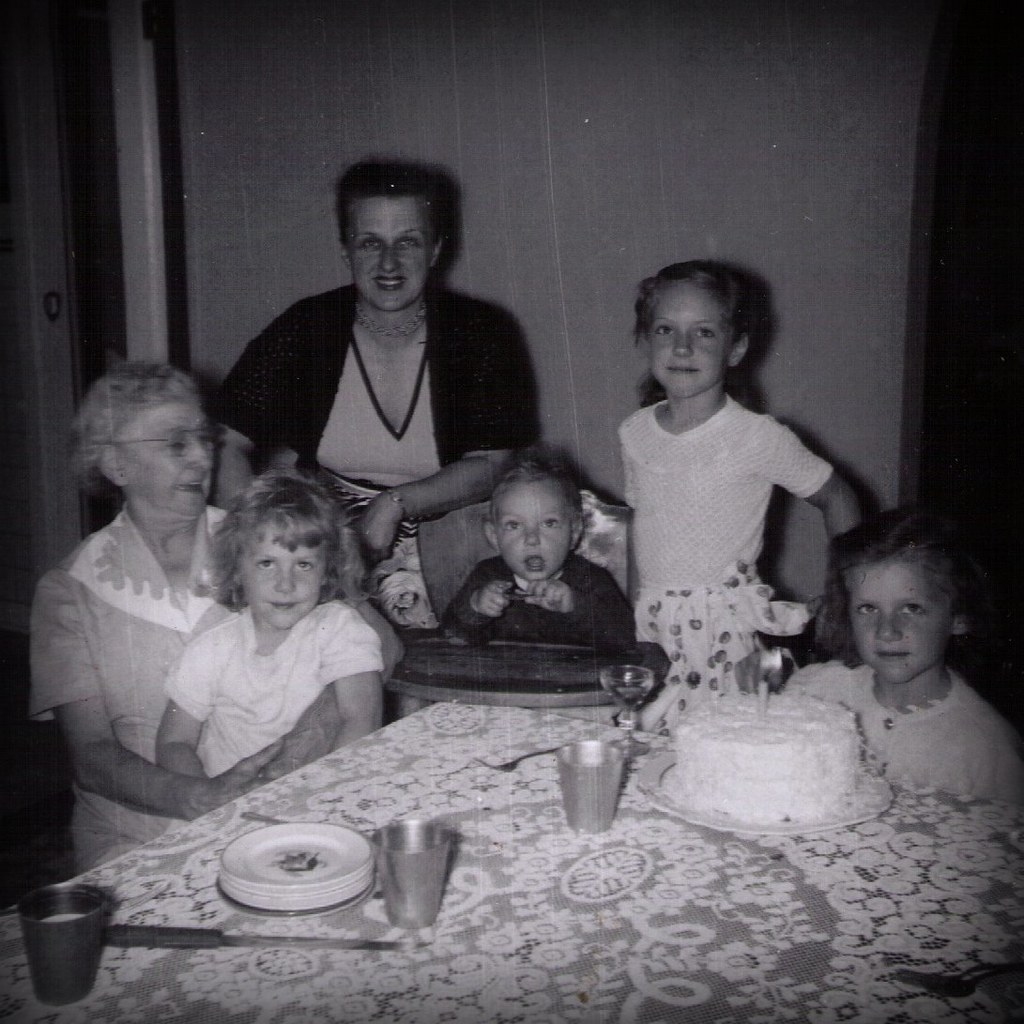 1950s Kids with Grammy Hine - June 1955