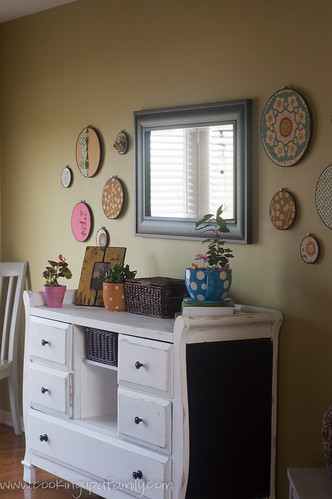 Kitchen Redo, painted green with fabric hoop walls
