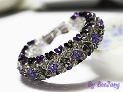 Elegant Ixora Dark Purple (BeeJang - Piratchada) Tags: black night silver purple crystal donut bracelet swarovski elegant ixora beadwork beadweaving piratcha