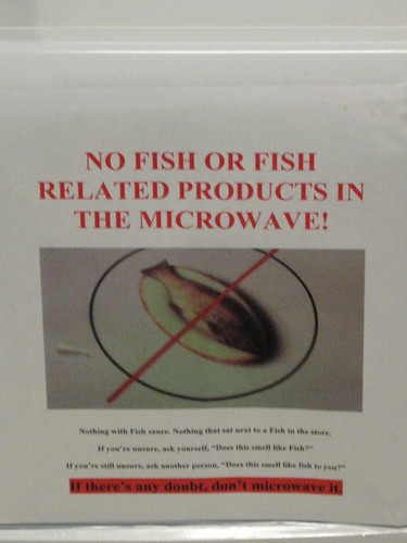 No fish or fish related products in the microwave