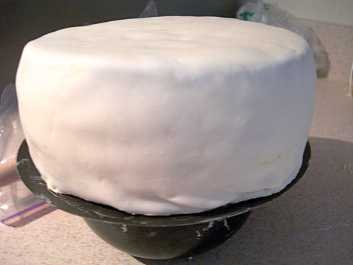 Cake covered with white fondant