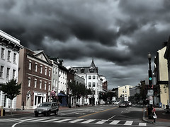 Stormy Weather in Georgetown (` Toshio ') Tags: road street city windows people storm men cars car clouds buildings shopping washingtondc dc districtofcolumbia women cityscape cloudy stormy georgetown capitol stores soe hdr toshio highdynamicresolution