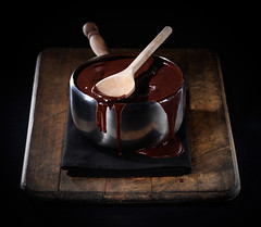 Chocolate Sauce (Darby Sawchuk) Tags: food studio dessert baking sauce chocolate pot spill bake dribble sinar foodphotography foodstyling