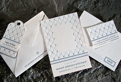 Brier Suite (Smock Letterpress) Tags: blue white environmental bamboo envelope letterpress eco smock offset birthannouncement callingcard hangtag diamondpattern socialoccasion correspondencecard socialstationery