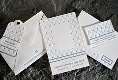 Brier Suite (Smock Letterpress) Tags: blue white environmental bamboo envelope letterpress eco smock offset birthannouncement callingcard hangtag diamondpattern socialoccasion correspondencecard socialstationery