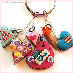 Polymer Clay Bag Decoration / Key Chain with Hearts, Ice Cream and Cake (Iris Mishly) Tags: ceramica art mobile cane arcoiris pen israel beads keychain hand heart handmade jewelry charm pillow polymerclay fimo mosquito clay canes bead handcrafted pens disc decor magnet charms hanger classes walldecor polymer millefiori hamsa embelishment arcila ceramicaplastica irismishly  polimerica chamsa arcillapolymerica discchic