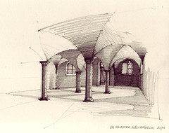 Krypta (Flaf) Tags: light shadow century pencil drawing 10 perspective 10th romanesque crypt romanisch jahrhundert ottonian ottonisch
