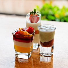 The Three Musketeers (Dennis Wong) Tags: wood red white green cup glass yellow table dessert hongkong hotel three strawberry coconut peach bean hong kong delicious mango western  musketeers intercontinental