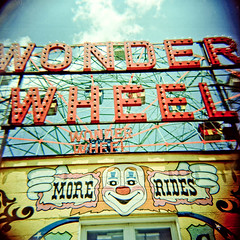 Wonder Wheel (AndyWilson) Tags: newyork 120 film sign brooklyn mediumformat coneyisland diy lomo ride kodak toycamera entrance diana ferriswheel funfair 160vc portra adc wonderwheel diyc41