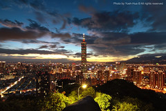 Taipei 101 Skyscraper at Sunset  July 13, 2009 (*Yueh-Hua 2013) Tags: camera sunset building tower architecture skyscraper canon buildings eos fine taiwan tokina 101  taipei taipei101 dslr       30d   101       canoneos30d horizontalphotograph t116  taipei101skyscraper taipei101internationalfinancialcenter 1116mm   bigstonepark mtelephantpeak  tokinaatx116proifdx1116mmf28 2009july