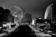 Yokohama Nightshot (Ame Otoko) Tags: street city urban bw white black japan skyline night skyscraper landscape lights hotel amusement office nikon nightshot image artistic sale empty stock commercial ferriswheel  yokohama desolate bayfront d90