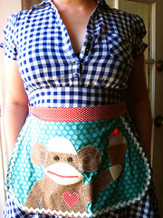 sock monkey chic (jessica wilson {jek in the box}) Tags: wardroberemix day18 2009 redwhiteblue eclaire jekstyle july09 apronoutfit 31onedaysof aselfimposedchallenge awesomeapron madebyflickruser