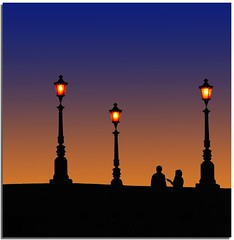 Talking to you (Nespyxel) Tags: bridge light sunset rome roma colors couple tramonto streetlamp silhouettes ponte talking colori lampioni luce coppia isolatiberina challengeyouwinner mywinners stefanoscarselli pleasedontusethisimageonwebsites blogsorothermediawithoutmyexplicitpermissionallrightsreserved