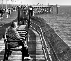 Alone in the crowd (...-Wink-...) Tags: ocean sea bw water pier alone crowd explore lonely fp frontpage ventura sigma18200 nikond80