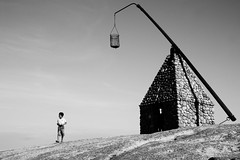 The young boy and the old lighthouse (ngari.norway) Tags: ocean sea lighthouse norway coast norge rocks photos granite fjord beacon worldsend endoftheworld tjme verdensende ngari