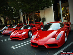 Triplets (Derek Walker Photo (Derk Photography)) Tags: show red up car mall island nikon long shot angle olympus ferrari event exotic enzo americana parked concours spotting combo elegance f40 f50 lined derk e510 manhasset d80