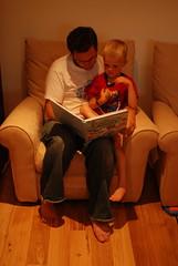 Lindsay reading to Charlie
