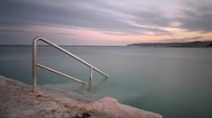 Merewether #2 (zane&inzane) Tags: longexposure blue sunset seascape yellow landscape australia panasonic nsw merewether lx3 newcasltle