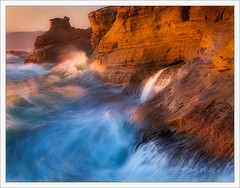 Sandstone and Surf (Chip Phillips) Tags: ocean sunset sea summer oregon landscape photography sandstone waves pacific phillips chip cape 2009 crashing kiwanda