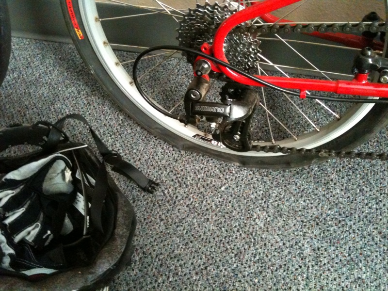 Back at the office, the Bike Friday with its first flat.