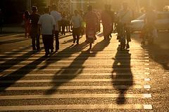 Crossing street. (ShanLuPhoto) Tags: china street sunset shadow people beijing bicyle xidan loolooimage