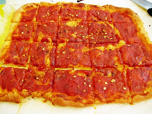 Homemade Pizza square cut