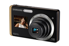 Samsung ST550 and ST550 digital compact cameras with dual LCD screen on front and back