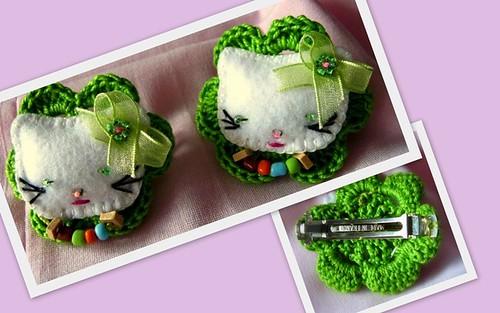 """Gancho de cabelo """"Hello Kitty"""" com crochet"""