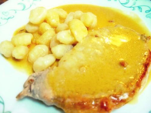 Mustardy Pork Chops & Gnocchi