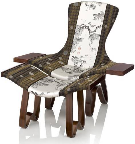 Modern Contemporary Chairs with Traditional Japanese Fabrics Pattern