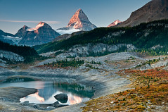 Morning at Og Lake Campsite (Marc Shandro) Tags: camping autumn camp canada reflection fall nature rockies bc britishcolumbia bluesky tent backpacking northamerica rockymountains wilderness sunsetsunrise mtassiniboine abigfave photoshelter absolutelystunningscapes