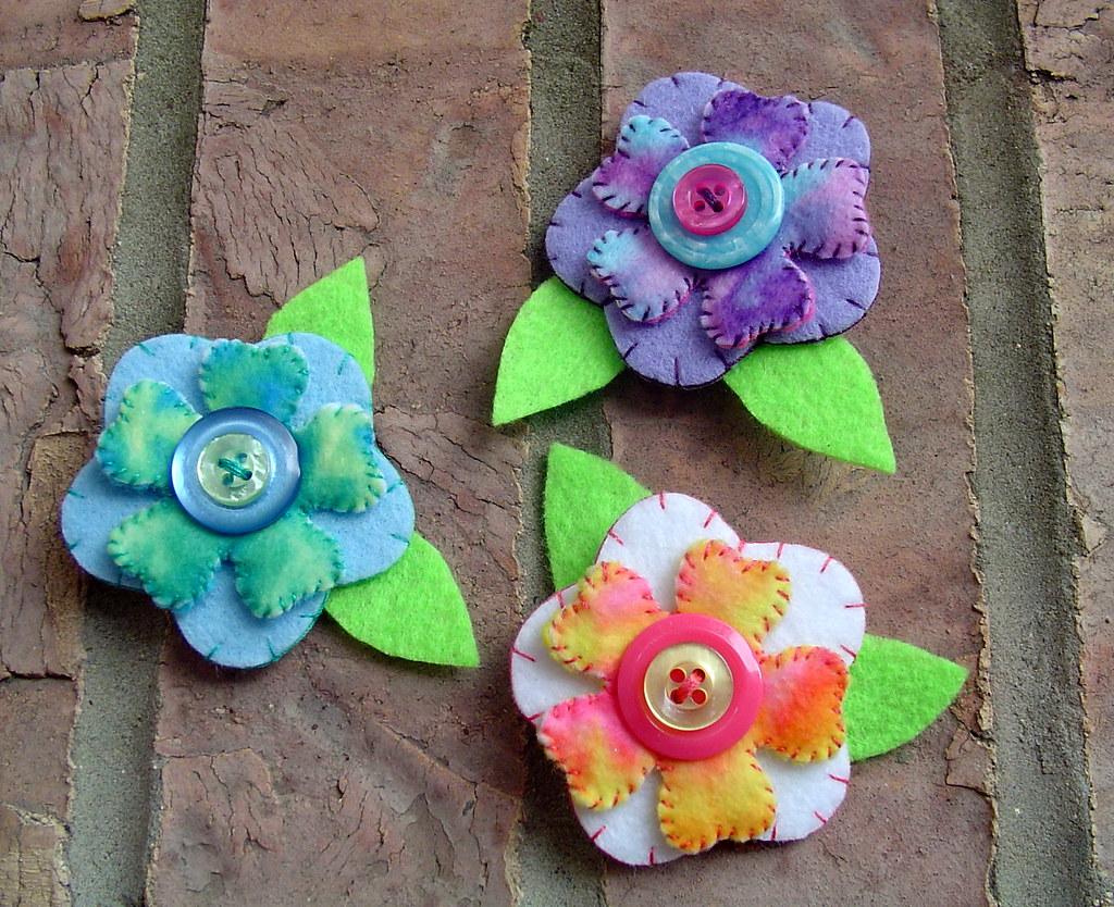 Colorful Felt flower pins