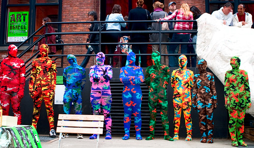 The Line Up / 100% Acrylic Art Guards by Agata Olek / Dumbo Arts Center: Art Under the Bridge Festival 2009 / 20090926.10D.54790.P1.L1.CC / SML (by See-ming Lee 李思明 SML)