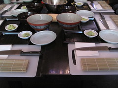 The set-up for the sushi class