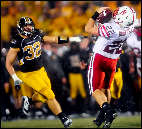 Nebraska freshman running back Rex Burkhead fumbles a punt from Missouri senior punter Jake Harry IV during the second quarter.
