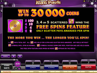 free The Rat Pack free spins