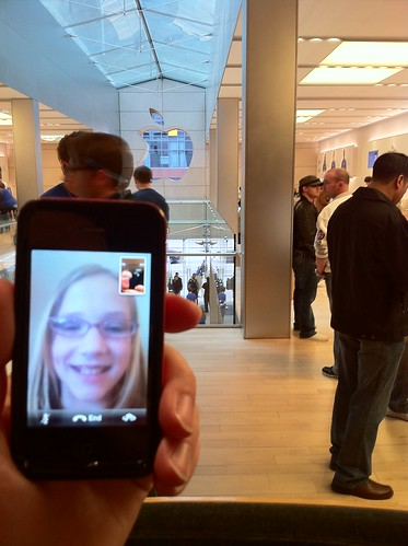 FaceTime videoconference from Michigan Avenue