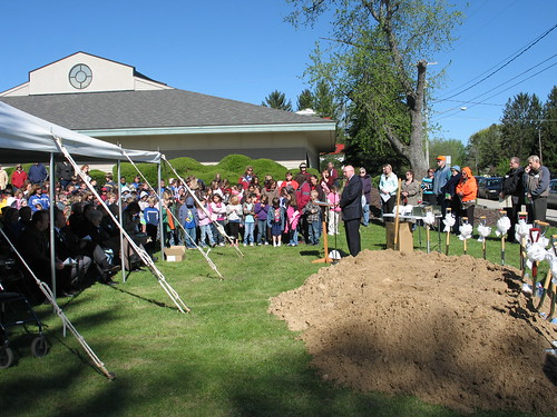 USDA Rural Development State Director for Michigan James J. Turner speaks at the groundbreaking for Morton Township Library.