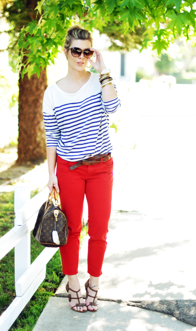 nautical, 2 blue and white striped top     with cropped red pants and brown accessories