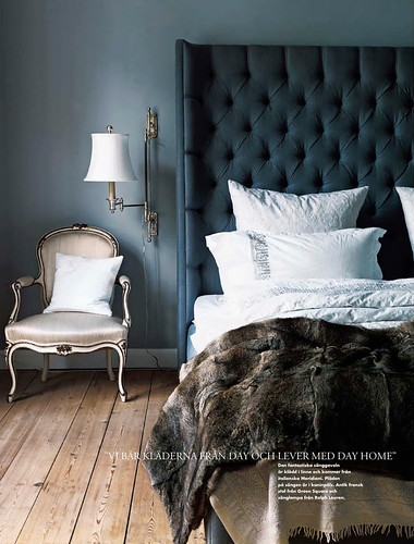 Marianne Brandi and Keld Mikkelsen / Emma Persson Lagerberg / Petra Bindel via Elle Interior {eclectic blue, gray and white bedroom} by recent settlers